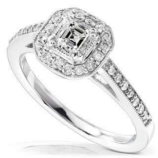 Annello 14k Gold 1/2ct TDW Asscher Diamond Halo Ring (H-I, SI1)