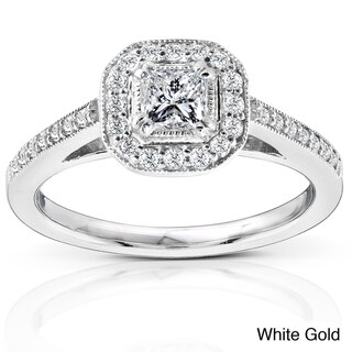 Annello 14k Gold 1/2ct TDW Diamond Halo Engagement Ring (H-I, I1)