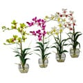 Dendrobium Silk Flower Arrangement with Glass Vase