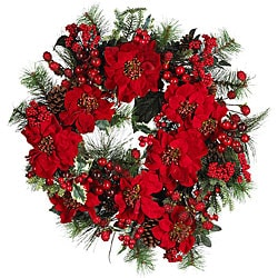 Festive Poinsettia Wreath
