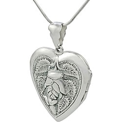 Tressa Sterling Silver Heart with Rose Locket Necklace