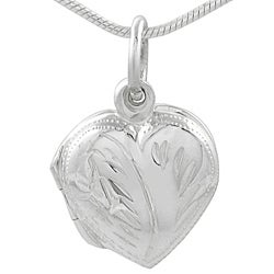 Tressa Sterling Silver Etched Heart Locket Necklace