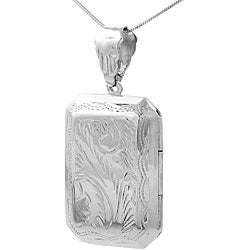 Tressa Sterling Silver Etched Rectangular Locket Necklace