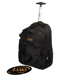 A.Saks Expandable Rolling Unisex Laptop Backpack with Pull-up Handle