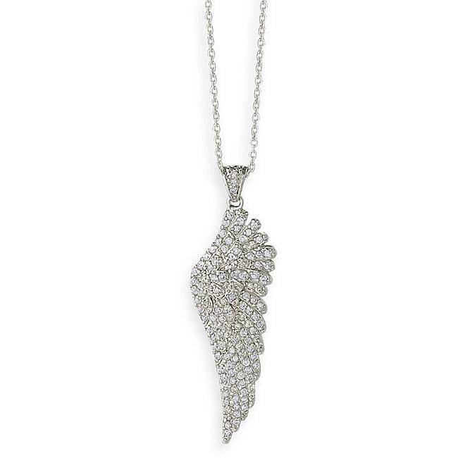 Simon Frank 14k White Gold Overlay Angel Wing Necklace