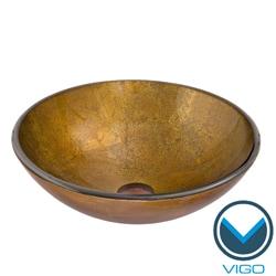 VIGO Branco Glass Vessel Bathroom Sink