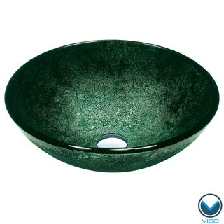 VIGO Emerald Glass Vessel Bathroom Sink
