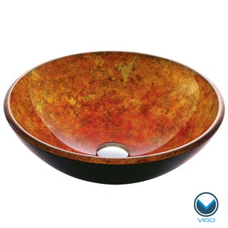 VIGO Livorno Glass Vessel Bathroom Sink