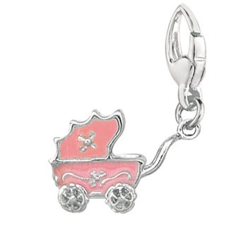 Sterling Silver Pink Baby Carriage Charm