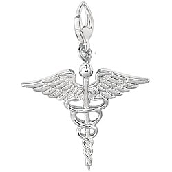 Sterling Silver Caduceus Medical Symbol Charm
