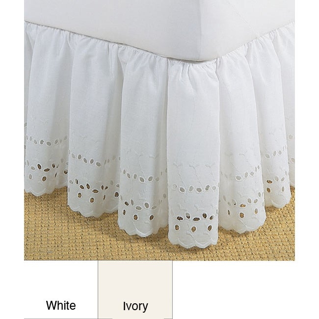 Fresh Ideas Lauren Heirloom Ruffled Eyelet White 14-inch Bedskirt