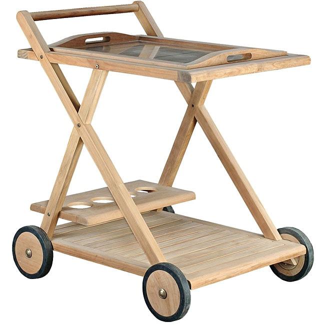 teak serving cart 11520050 overstock shopping