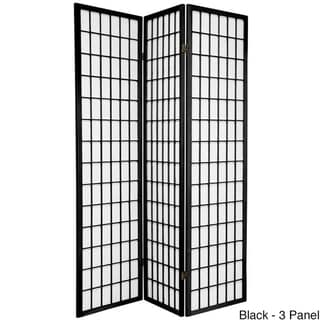 Wood and Rice Paper 6-foot 6-panel Windowpane Shoji Screen (China)