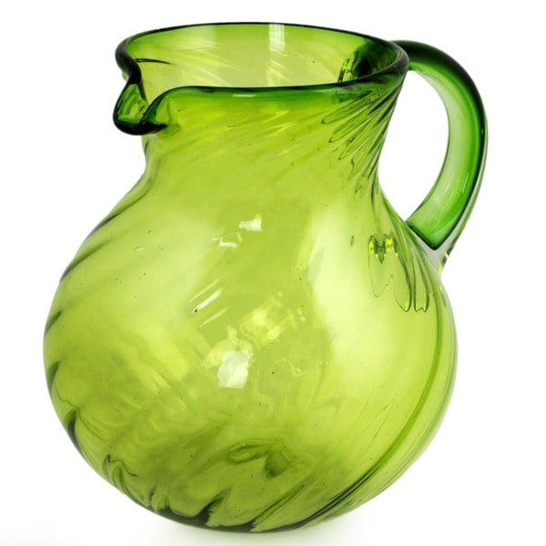Blown Glass 'Lemon Sorbet' Pitcher (Mexico)
