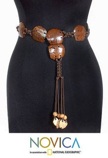 March of Elephants Eco Friendly Coconut Shell Strung on Hand Knotted Nylon Cord Adjustable Length Womens Tassle Belt (Thailand)
