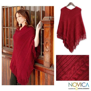 Alpaca Wool 'Red Latitudes' Poncho (Peru)