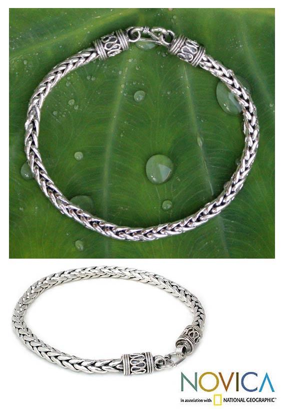 Sterling Silver Men's 'Strength' Bracelet (Thailand)