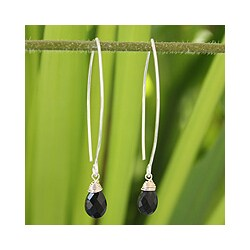 Silver and Black Spinel 'Sublime' Earrings (Thailand)
