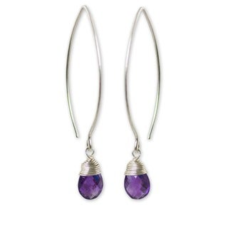 Sublime Faceted Purple Amethyst Drops with 925 Sterling Silver Wrap Setting on Long Oval Wires Womens Dangle Earrings (Thailand)