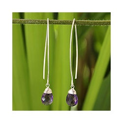 Sterling Silver 'Sublime' Amethyst Earrings (Thailand)