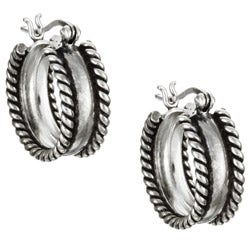 Sterling Essentials Sterling Silver Antique Finish Hoop Earrings