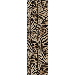 Virginia Animal Print Black/ Beige Olefin Rug (2'2 x 7'7)