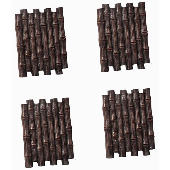 Bamboo Styled Aluminum Stepping Stones (Set of 4)