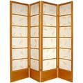 Wood and Paper Solid Bottom 4-panel Botanical Screen (China)
