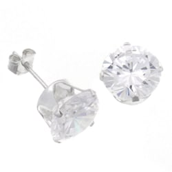Tressa Sterling Silver 8 mm Round-cut CZ Earrings