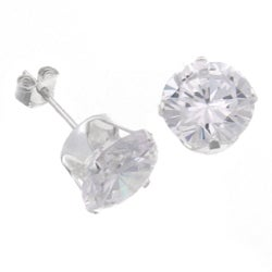 Journee Collection Sterling Silver CZ 10-mm Round Stud Earrings