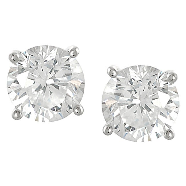 Journee Sterling Silver CZ 7-mm Round Stud Earrings