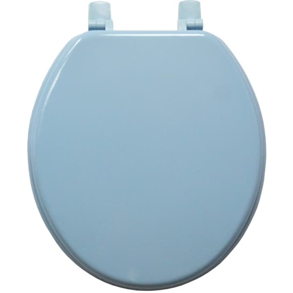 Blue Solid Molded Wood Toilet Seat