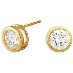 14-karat Yellow Gold Overlay Cubic Zirconia Solitaire Earrings