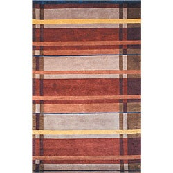 Hand-knotted Plaid Contemporary Wool Rug (8'3 x 11')