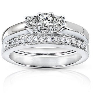 Annello 14k Gold 3/8ct TDW Diamond Bridal Rings Set (G-H, I1-I2)