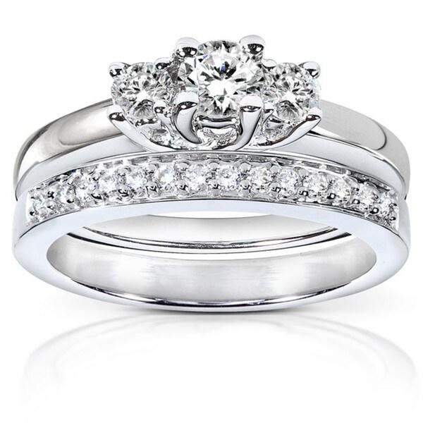 Annello 14k Gold 5/8ct TDW Diamond Bridal Rings Set (G-I, I1-I2)