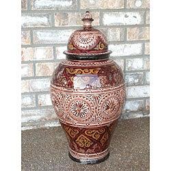 Ceramic 'La Mamounia' 21-inch Engraved Vase (Morocco)