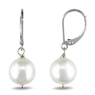 M by Miadora Silver Freshwater Pearl Earrings (9-10 mm)
