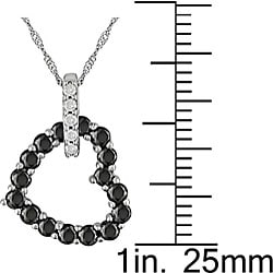 Miadora 10k Gold 3/4ct TDW Black and White Diamond Heart Pendant