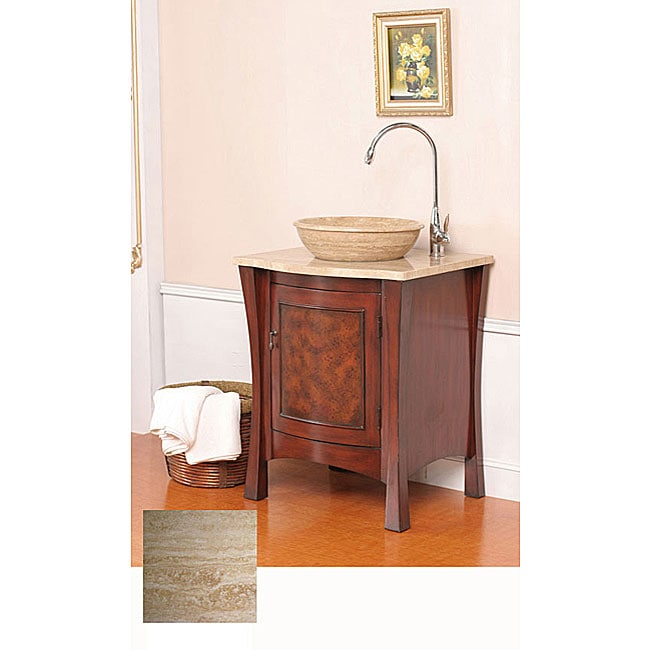 modern travertine stone 26 inch single sink cabinet bathroom vanity