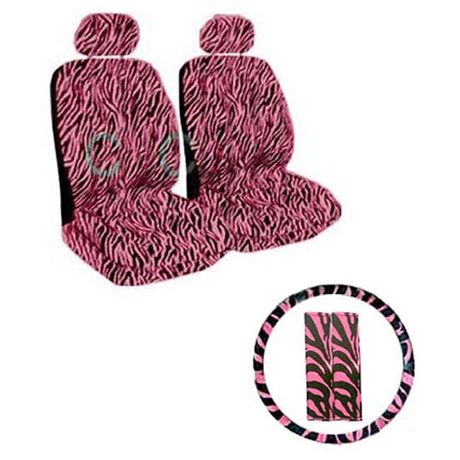 Black/ Pink Zebra Print 7-piece Car Accessories Se