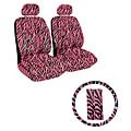 Black/ Pink Zebra Print 7-piece Car Accessories Se