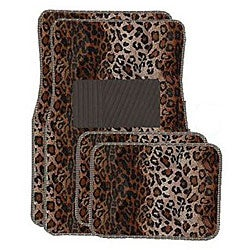 Tan Leopard Front and Rear Carpet Floor Mats