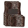 Tan Leopard Front and Rear Carpet Floor Mats