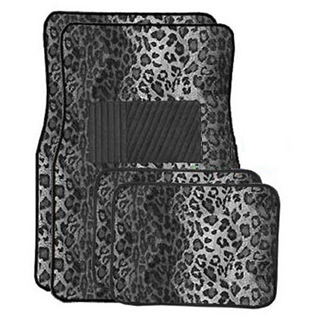 Snow Leopard Front and Rear Carpet Car Floor Mats