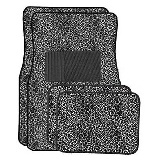 Grey Cheetah Front and Rear Carpet Car Floor Mats