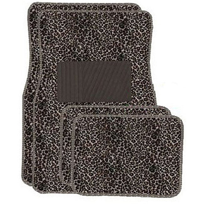 Tan Cheetah Front and Rear Carpet Car Floor Mats