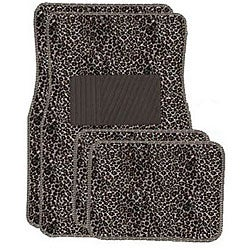 Tan Cheetah Front and Rear Carpet Car Floor Mats