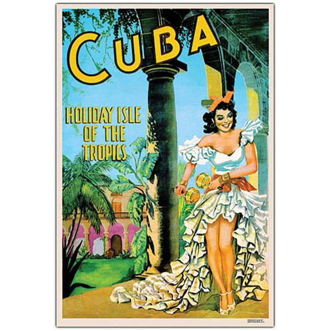 'Cuba Holiday Isle' Framed Canvas Art