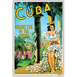 'Cuba Holiday Isle' Framed Canvas Art